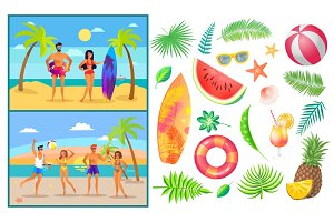 Summer People Man and Woman Vector