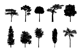 tree silhouettes vector collection
