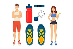 Woman and Man Sport Icons Set Vector