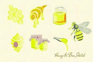 Honey & Bee Sketch