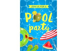 Pool party invitation vector