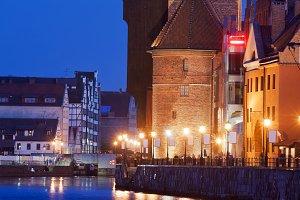 The Crane in Gdansk by Night