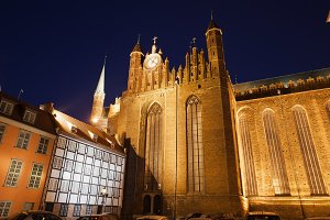 St. Mary's Church at Night in Gdansk