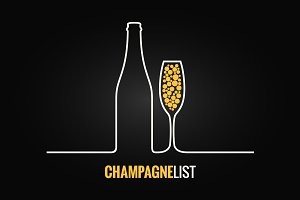 Champagne glass bottle menu