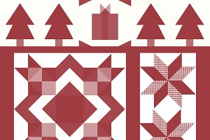 Red Christmas tiles design vector