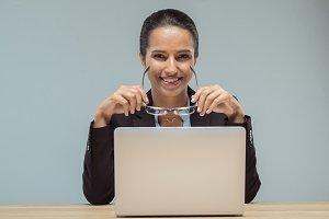 portrait of smiling businesswoman wi