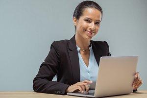 portrait of smiling businesswoman lo