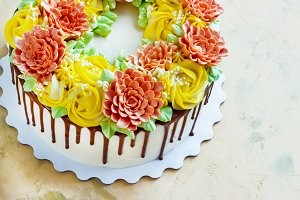 Birthday cake with flowers rose on