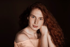beautiful tender redhead woman with