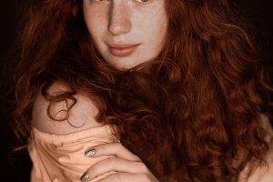 pretty tender redhead woman posing i