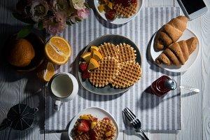 Top view of fresh tasty breakfast wi