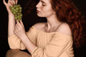 attractive sensual redhead woman pos