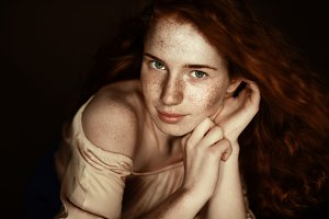 attractive tender freckled redhead w