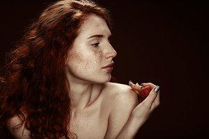 beautiful sensual nude redhead woman