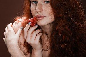 sensual attractive redhead woman pos