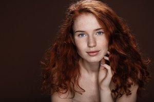 tender attractive redhead woman posi