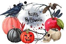 Halloween clipart watercolor