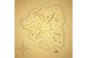 Pirate Treasure Map Background Card.
