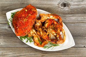 Spicy Crab Meal on Rustic wood