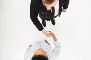 overhead view business colleagues sh