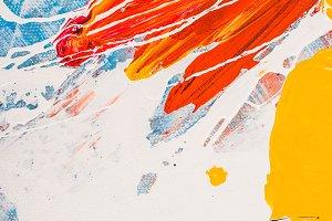 close up of acrylic paint splatters
