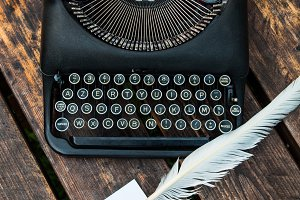 Antique vintage typewriter in on a