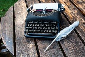Antique vintage typewriter in on a