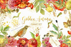 Golden Autumn Watercolor wedding set