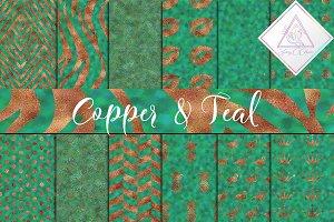 Copper & Teal Foils Textures