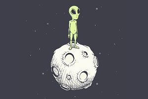 The alien stands on the Moon