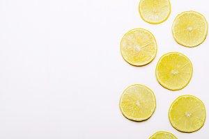 Slices of juicy yellow lemon