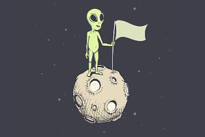 alien on moon with flag