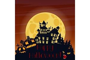 Halloween horror house with pumpkins