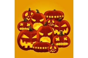 Horror Halloween pumpkin lanterns.