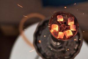 Shisha hookah with red hot coals