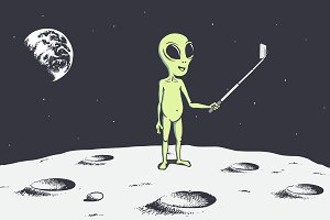 alien make selfie on the Moon