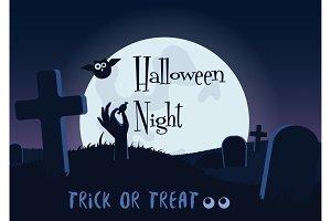 Halloween dead zombie hand poster.