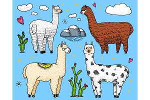 Set of cute Alpaca Llamas or