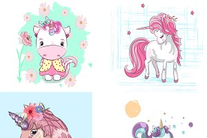 Set of cute little unicorns