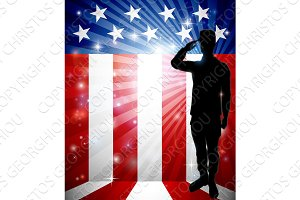 Patriotic Soldier Saluting American