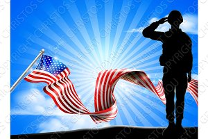 American Flag Saluting Soldier