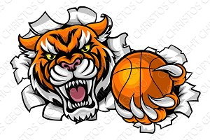 Tiger Holding Basketball Ball