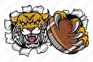 Wildcat American Football Mascot