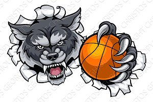 Wolf Basketball Mascot Breaking