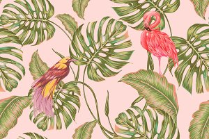 Tropical birds floral exotic pattern