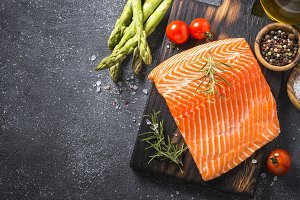 Salmon fillet with ingredients for