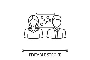 Business strategy scheme linear icon
