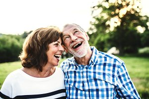 A laughing senior couple in love