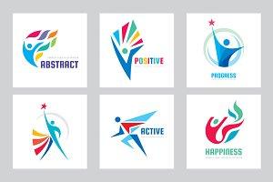 Abstract People - Vector Logo Set