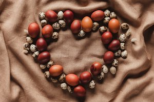 heart shaped easter eggs and quail e